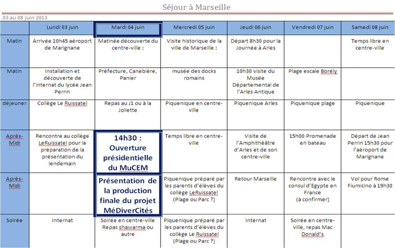 sejour Marseille 3 au 8 juin 2013